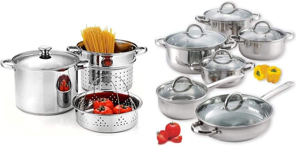 Cook N Home 4-Piece 8 Quart Multipots, Stainless Steel Pasta Cooker Steamer & 12-Piece Stainless Steel Cookware Set, Silver