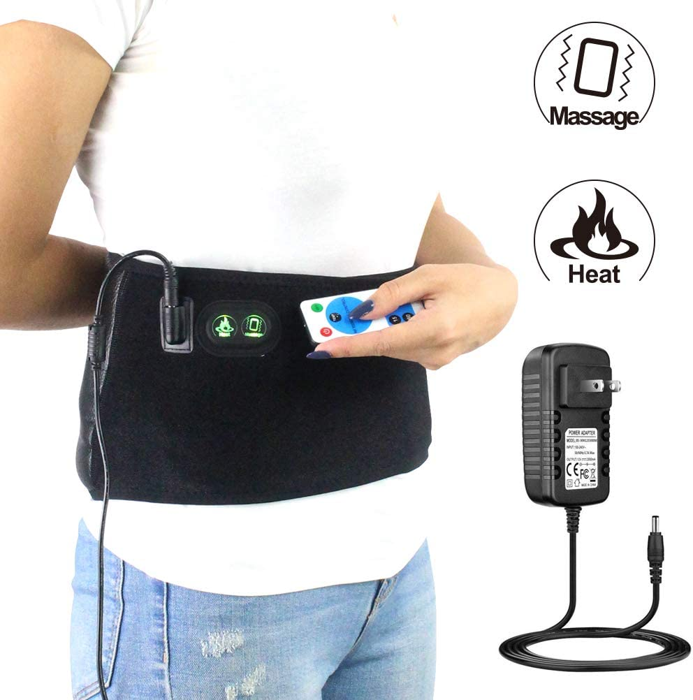 CHEROO Heated Lumbar Support Lower Back Brace Belt with Vibration Massager, Auto Shut Off Far Infrared Heating Pad W/Remote Control Moist Heat Therapy for Lower Back Pain Relief