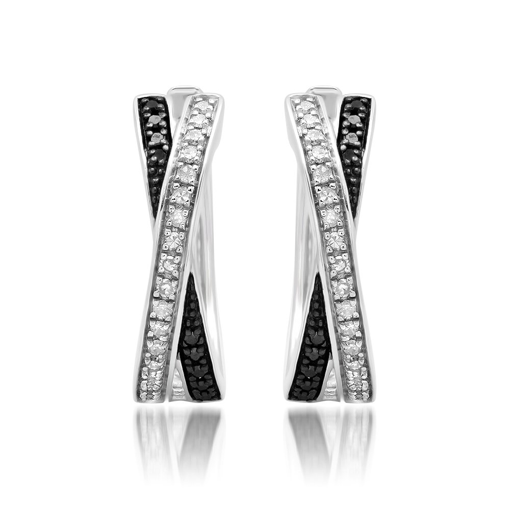 Sterling Silver Black and White Diamond 'X' Hoop Earrings (0.30 cttw., J-K Color, I2-I3 Clarity)