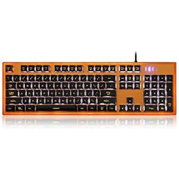 zolimx mecánico Gaming Teclado Moto Speed K10 aleación de aluminio cubierta superior con bicolor bi-inyección botón kuppen multicolor naranja: Amazon.es: ...