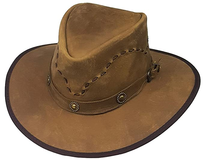 c0ce2cc1dab51f Modestone Weathered Antiqued Leather Cowboy Hat Lacing on Crown Conchos:  Amazon.co.uk: Clothing