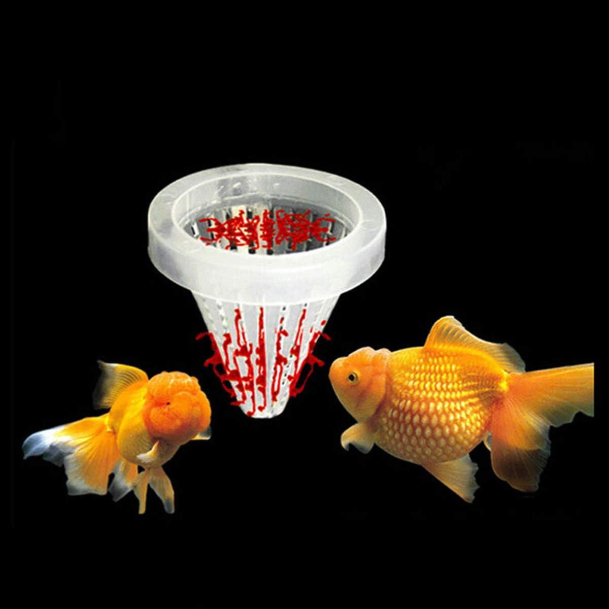 Colore Casuale della Ventosa POPETPOP 20pcs Acquario alimentatori Automatici Rosso Verme bloodworm Cibo per Pesci Alimentatore Cono con Ventosa