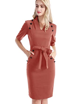 f1175a454db02 CHICIRIS Women's Retro Chic Short Sleeve Career Tunic Sheath Dress Suit  Brown Size S