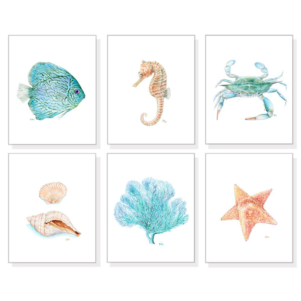 Coastal Beach Ocean & Tropical Art Prints Set of 6, Beach Decor Coastal Wall Art, Sand & Blue Watercolors, Fish Crab Coral Seahorse Sea Shells Starfish