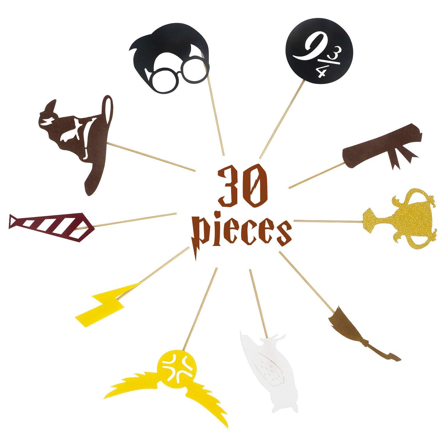 30 pack For Harry Potter Inspired Cupcake Toppers For Harry Potter Wizard Birthday Party Decorations Supplies Hogwarts Party Decor with 10 different Elements of Harry Potter Theme Wuree