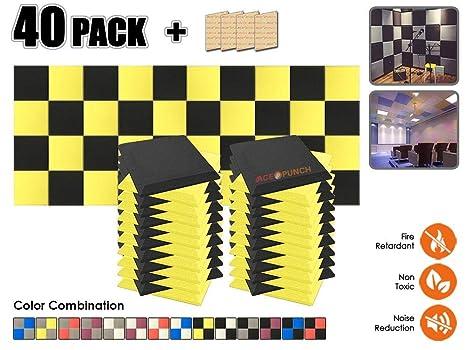 Acepunch 40 Paquete NEGRO & AMARILLO Bisel Plano Espuma Acústica Panel DIY Diseño Estudio Sonar Insulation