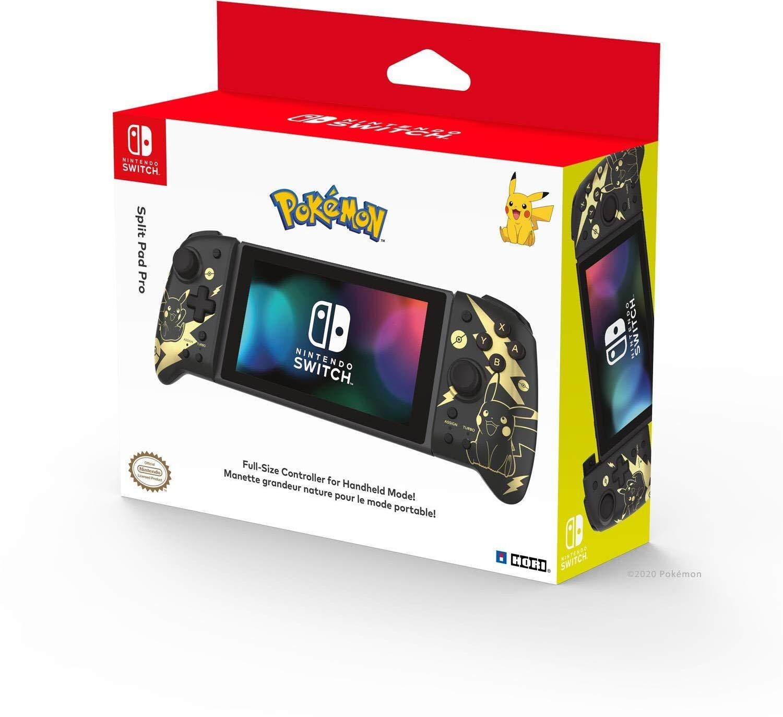 Hori Nintendo Switch Split Pad Pro (Pokemon: Black & Gold Pikachu) By - Officially Licensed By Nintendo and the Pokemon Company International - Nintendo Switch