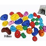 【Hilax】 【一年保証】 カラフルホールド クライミングホールド ボルダリング 用 ボルト付きコンクリートアンカー付 32個セット(簡単な取付説明書付)
