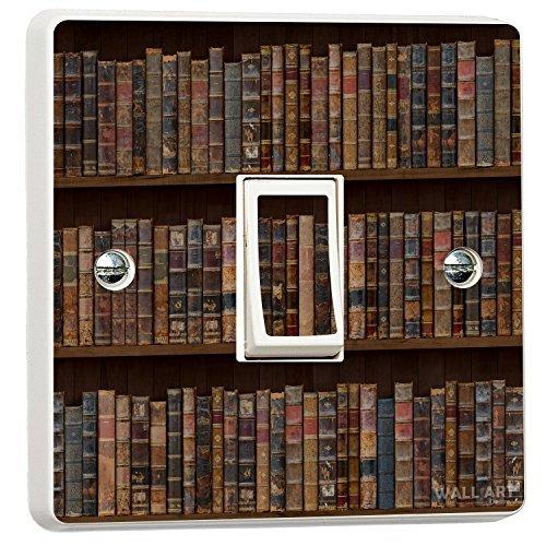 Book Case Single Light Switch Cover Vinyl Sticker Wall Art Desire