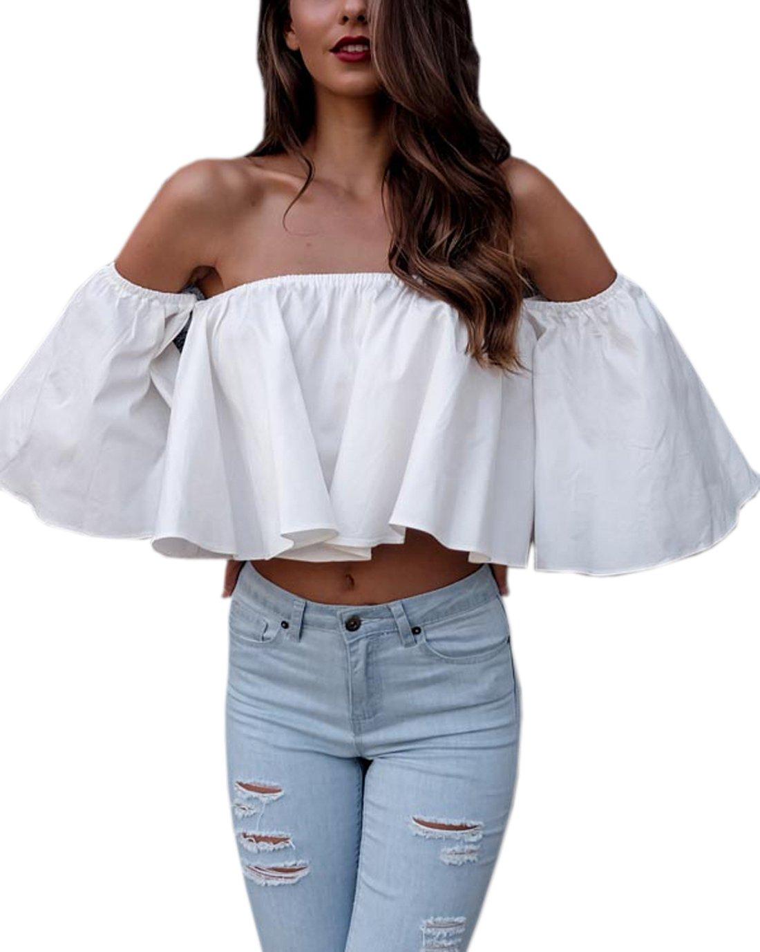 0f71e1740274b Galleon - Relipop Women s Off Shoulder Tops Short Sleeve Shirt Strapless  Blouses (Large