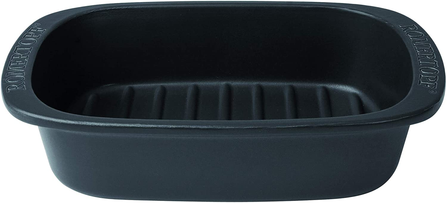Romertopf Flame Safe All Natural Clay BBQ Grilling Dish by Reston Lloyd, Large, Black