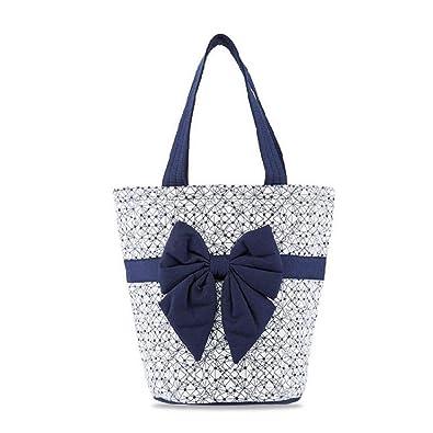 9b982c63f21e NaRaYa Geometric Printed Quilted Bucket with Bow Navy Blue Handbag ...
