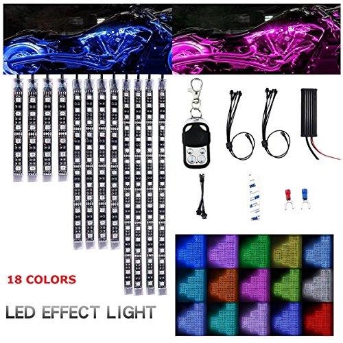 Paddsun Waterproof Premium Multi-Color Motorcycle LED Lights | Motorbike LED Light Kit 12 Volt Light Strips Neon Accent Glow | 18 SUPER Bright RGB Colors Vibrant Remote