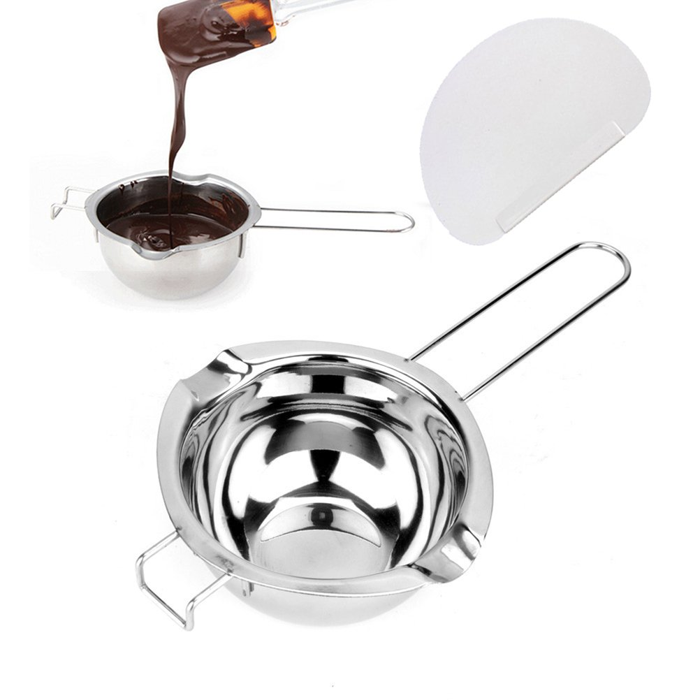 OUNONA Double Boiler Pots - Stainless Steel Pour Spouts Chocolate/Cheese/Caramel Melting Pots with Plastic Scraper