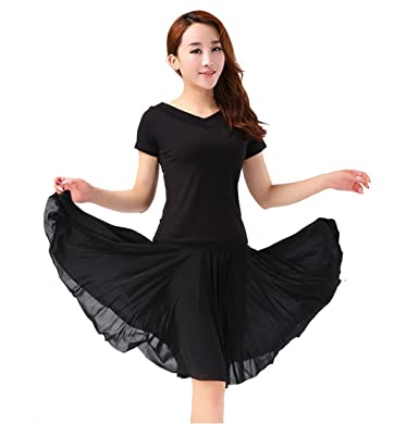 4977e691f0e1 YoYoiei Women's Retro High Waisted Pleated Salsa Dance Skirt w/Shorts