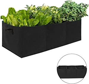 N/X Fabric Raised Planting Garden Bed, Garden Grow Bags, Large Raised Planting Beds Planting Bags with 3 Compartments Potato Tomato Planter for Outdoor Vegetables Plant Flowers