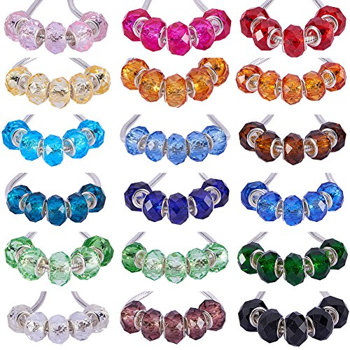 PH PandaHall 1 Box 144 PCS 18 Color Handmade Glass European Beads Faceted Rondelle Large Hole Beads 14x8mm for Jewelry Making