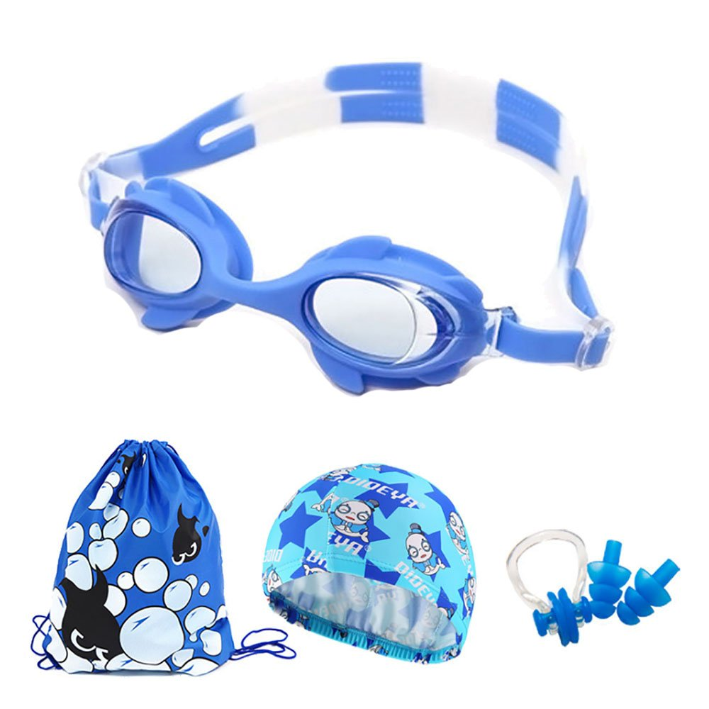 Kids Swimming Goggles Swim Cap Anti Fog UV Protection Swim Goggles Silicone Swimming Glasses with Nose Clip Ear Plugs and Carry Bag