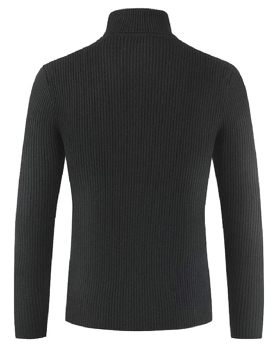 CBTLVSN Men Basic Ribbed Knitted Pullover Slim Fit Turtleneck Sweater