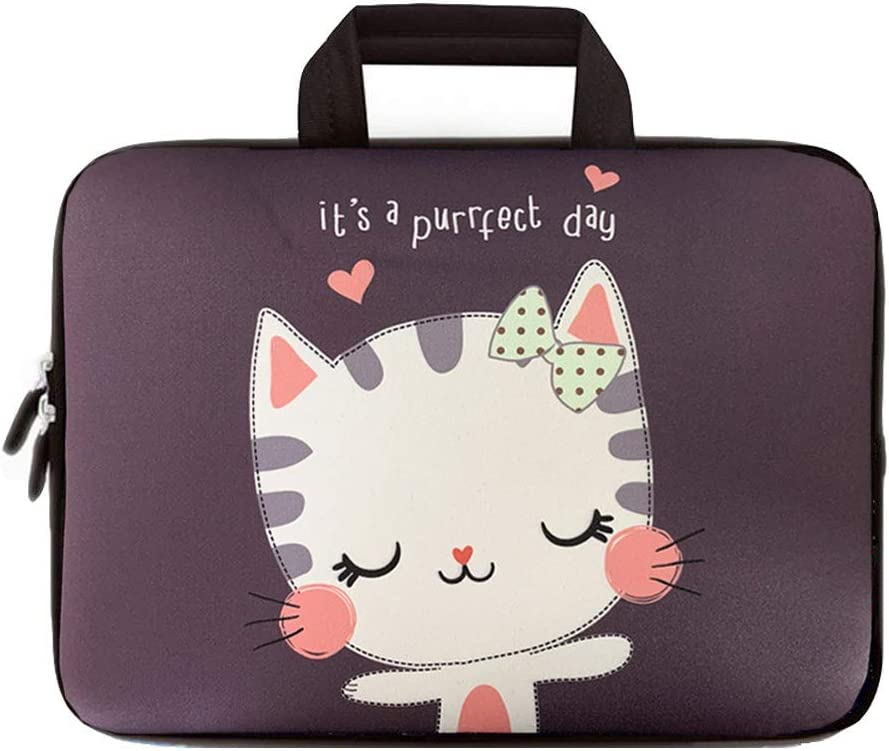 ICOLOR Cute Kitty 11.6 12 Inch Laptop Carrying Protective Case Neoprene Sleeve Briefcase Pouch Bag Tote with Handle Fits 11.6-12.2 Inch Netbook/Notebook (IHB12-018)