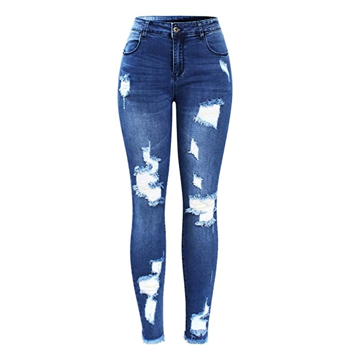 Stretchy Blue Tassel Ripped Jeans Mujer Pantalones vaqueros ...