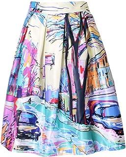 HEHEAB Falda Falda Dividida Primavera Verano Señoras Impresión De Graffiti Pintando De Cintura Alta Falda Midi Vacaciones Saia De Desgaste