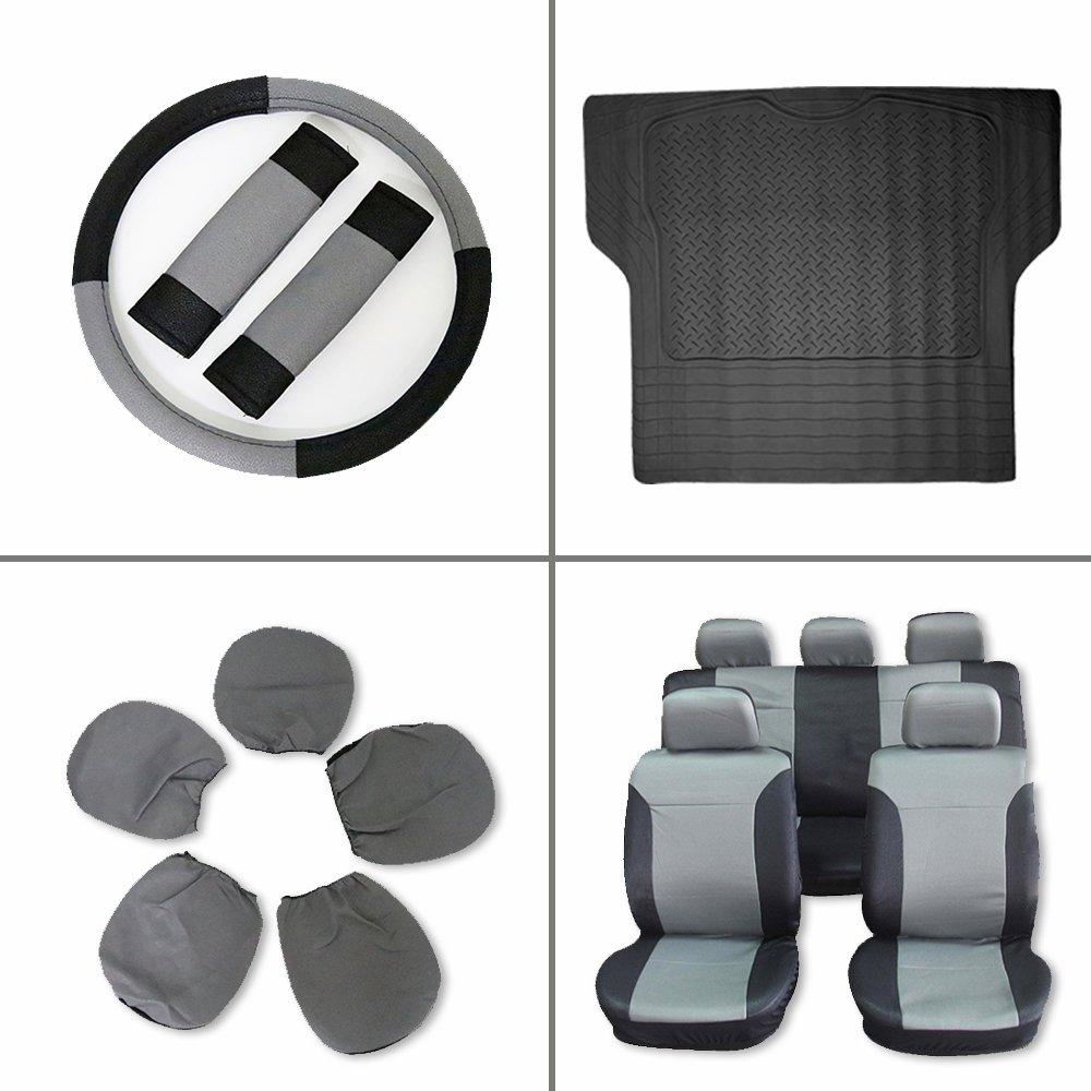 Scitoo 13-PCS Trunk Liner Floor Mat Black/Gray Car Seat Covers W/Steering Wheel Cover for Heavy Duty Vans Trucks