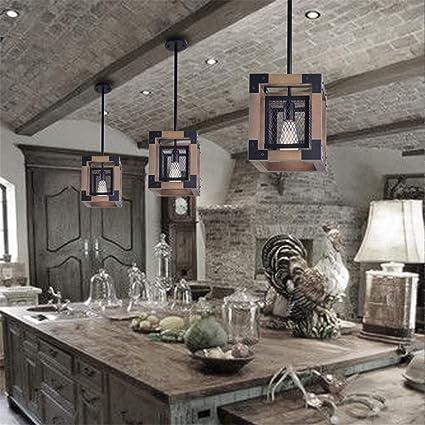 ACRHOME Luz de época Industrial Colgante, lámpara de Retro con Marco de Madera de la lámpara y el Auge del Hierro Ajustable, Colgante de lámparas Colgantes para Dormitorio Loft Bar Sala, E27: