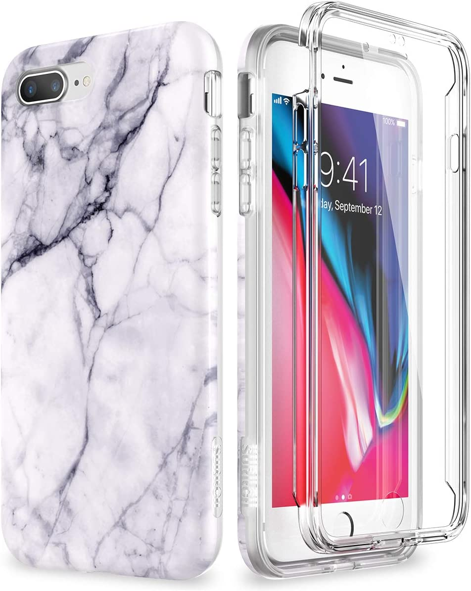 SURITCH Marble iPhone 8 Plus Case/iPhone 7 Plus Case, [Built-in Screen Protector] Full-Body Protection Hard PC Bumper + Glossy Soft TPU Rubber Shockproof Cover for iPhone 7 Plus/8 Plus- Gray/White