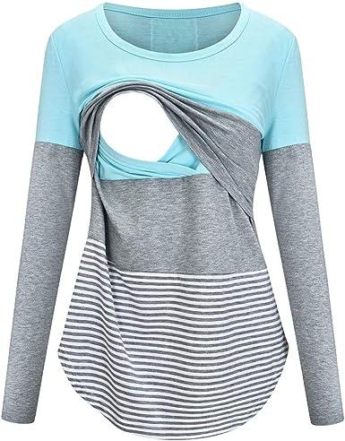 NPSJYQ Camiseta de Lactancia Premamá Camisa de Maternidad ...