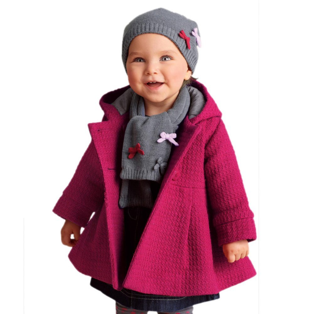 Weixinbuy Kids Girls Faux Fur Fleece Lapel Coat Winter Warm Jacket (2-3 Years, Rose red)