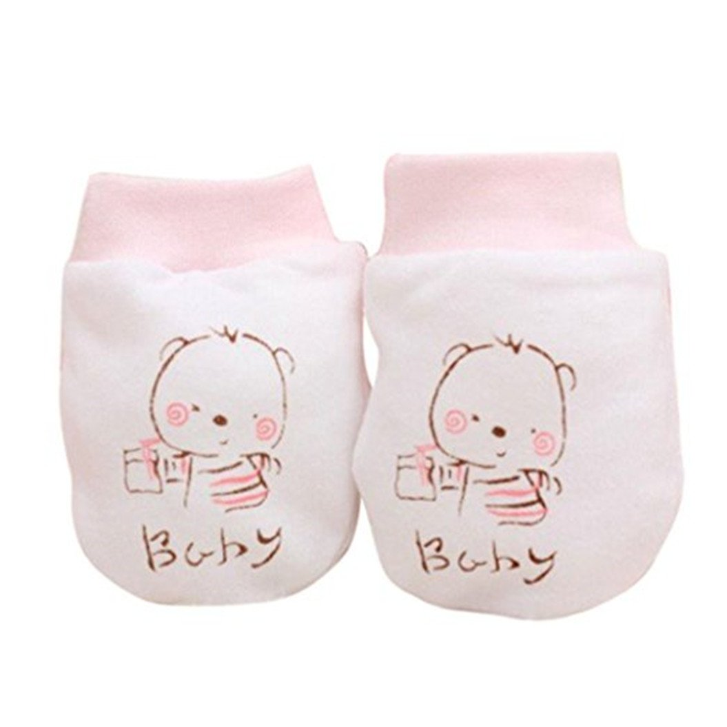 SWIDUUK 2 Pairs Soft Cartoon Baby Infant Boys Girls Anti Scratch Mittens Soft Gloves