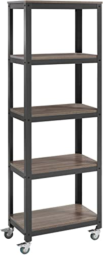 Modway Vivify Industrial Modern Bookcase With Locking Casters