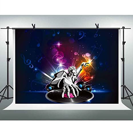 FHZON 10x7ft Dynamic DJ Photography Backdrop Music Disk Bokeh Background Themed Party YouTube Photo Booth