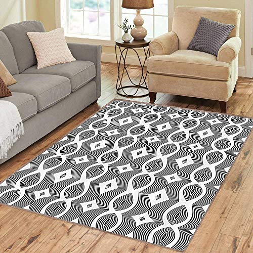 (Rug,Floor Mat Rug,Contemporary,Area Rug,Monochrome Waving Pattern with Curves and Diamond Shapes Op Art Design,Home mat 5'x8' Jade Green Dried Rose Pink,Rubber Non Slip,Indoor, Front Door, Kitchen and)
