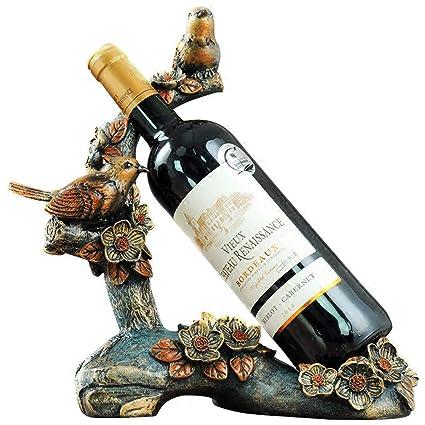 KMYX Creativa Resina Natural Botella de Vino Estante Decoración Artesanías de Escritorio Ornamento Vinoteca Exhibición Interior