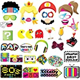TMCCE 80s Party Photo Booth Props-80's Retro 1980s Birthday Party Supplies Decorations