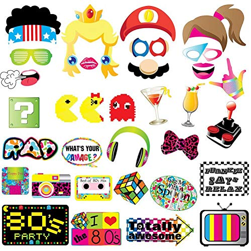 80s Party Photo Booth Props-80's Retro 1980s Birthday Party Supplies -