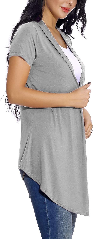 C/árdigan Suave Drapeado de Manga Corta para Mujer C/árdigan Ligero S/ólido