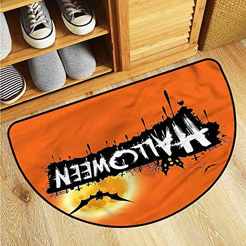 Beihai1Sun Semicircular Floor mat Halloween Spooky Party Bats Festive with No-Slip Backing -