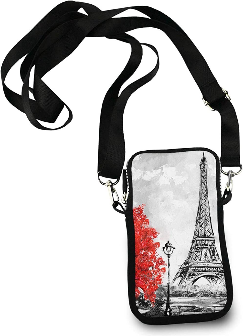 Roomy Pockets Series Oil Painting Paris European City Landscape France Eiffel Tower Small Crossbody Bag Cell Phone Purse Wallet For Women Girls