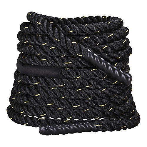 Yaheetech 1.5 Polyester 30 40 50ft Battle Rope Workout Cardio Core Strength Training Fitness Undulation Rope Exercise