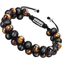 Bracelet en pierre naturelle pour les hommes, Braceletréglable de perlesavec huile essentielle Yoga comme Diffuser Bracelet pour hommes