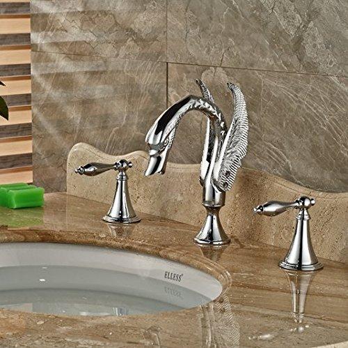GOWE Polished Chrome Bathroom Swan Faucet Dual Handles Vanity Sink Mixer Tap 2 Handle 1