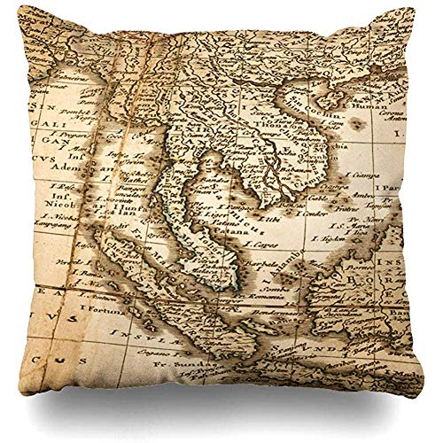 - Throw Pillow Cover Square 18x18 18Th Thailand World Map Antique Century Vintage Asia Old Cambodia Zippered Cushion Case Home Decor Covers