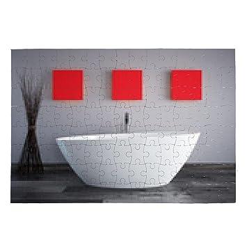 Badewanne Mit Grauer Wand Und Roten Bildern Puzzle   Sonstige, Siehe Liste  Unten
