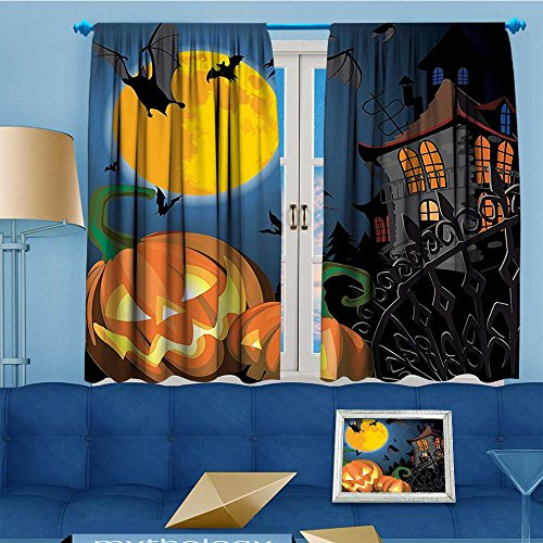 Mikihome Design Print Grommet top Thermal Insulated Scene Halloween Haunted Party Theme Trick Treat Linen Room Darkening Curtains 72