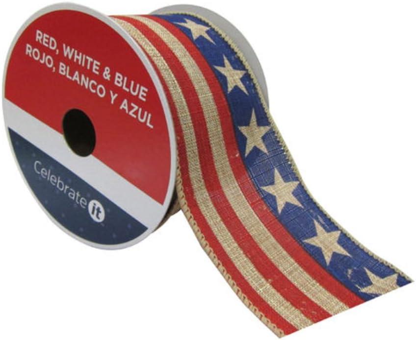 Bandera patriótica tejida con cable rústico estrellas cinta 2,5