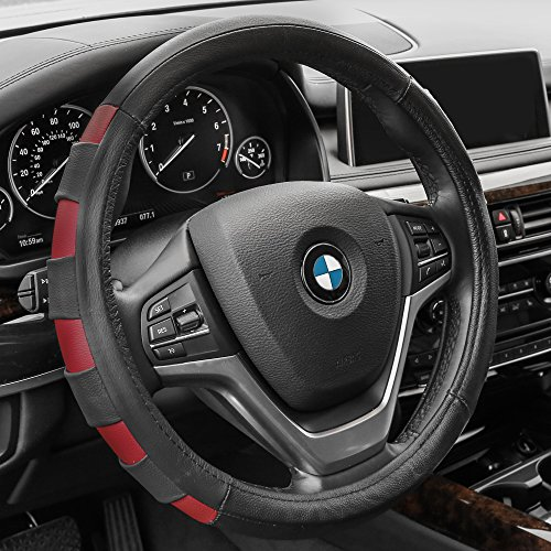 (FH Group FH2005RED Steering Wheel Cover (Genuine Leather Sport Red))