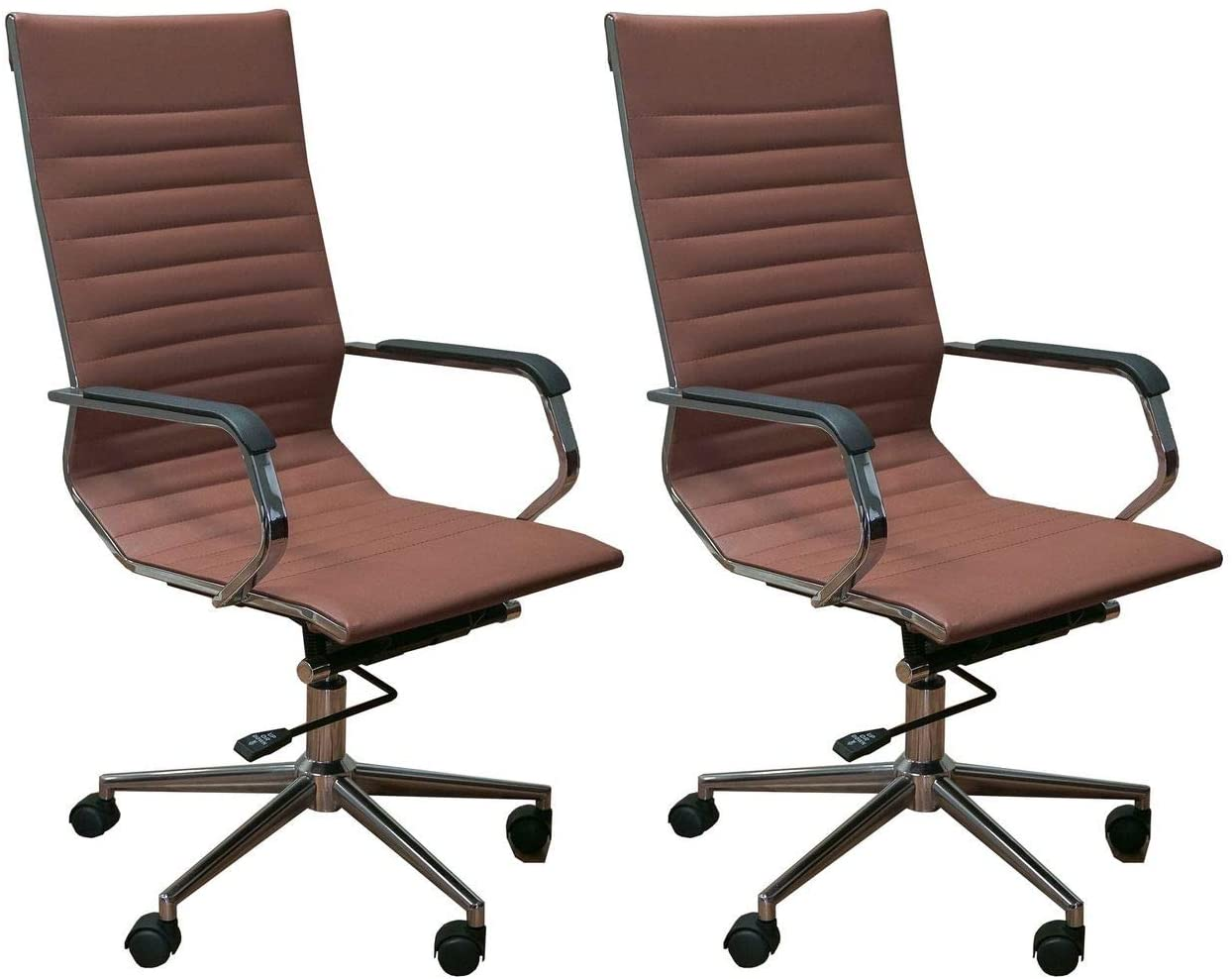 ErgoMax Set of 2 Ergonomic Height Adjustable High Back Office Chairs w/Armrests, 46.9 Inch Max, Brown